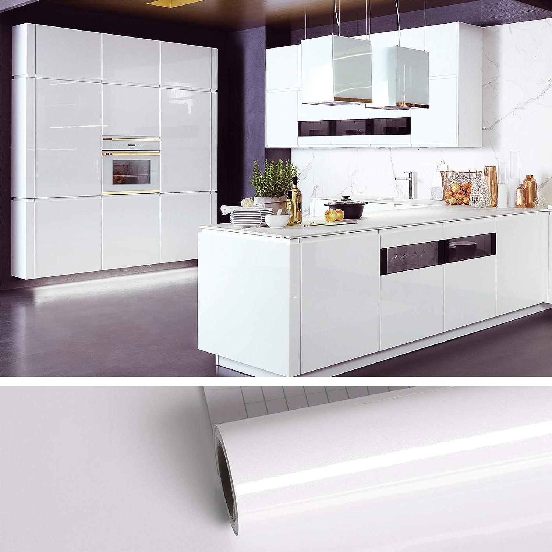 VEELIKE Papel pintado blanco brillante autoadhesivo de vinilo pegatinas de pared para muebles de cocina Puertas de gabinetes Papel de pared impermeable Encimera Baño Armario Dormitorio 40cm x 900cm