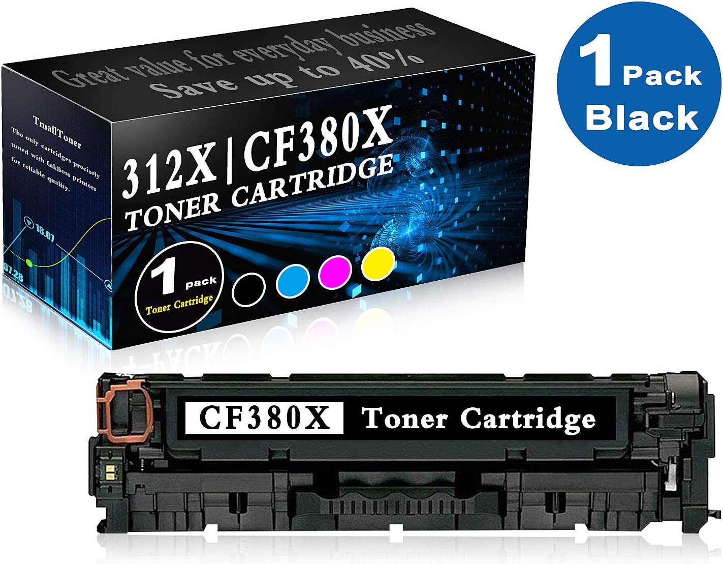 M476dn CF385A High Yield 312X CF380X 1 Pack Black Remanufactured Toner Cartridge Replacement for HP Color Laserjet Pro MFP M476dw CF386A Printer Ink CF387A M476nw