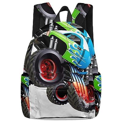 Casual Backpack Cartoon Monster Truck School Book Bag, Transportation Lorry Bag   Kids' Backpacks