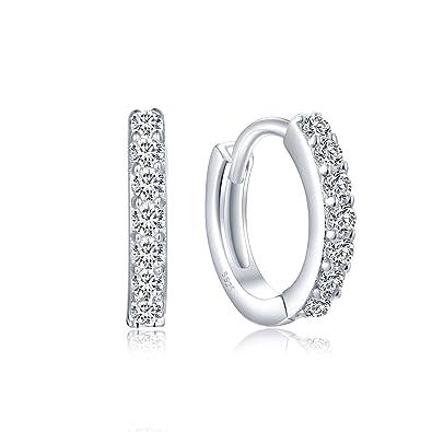 IIOOII Women's Elegant S925 Sterling Silver Earrings Sparkling Hoop Earring LfKwDGS