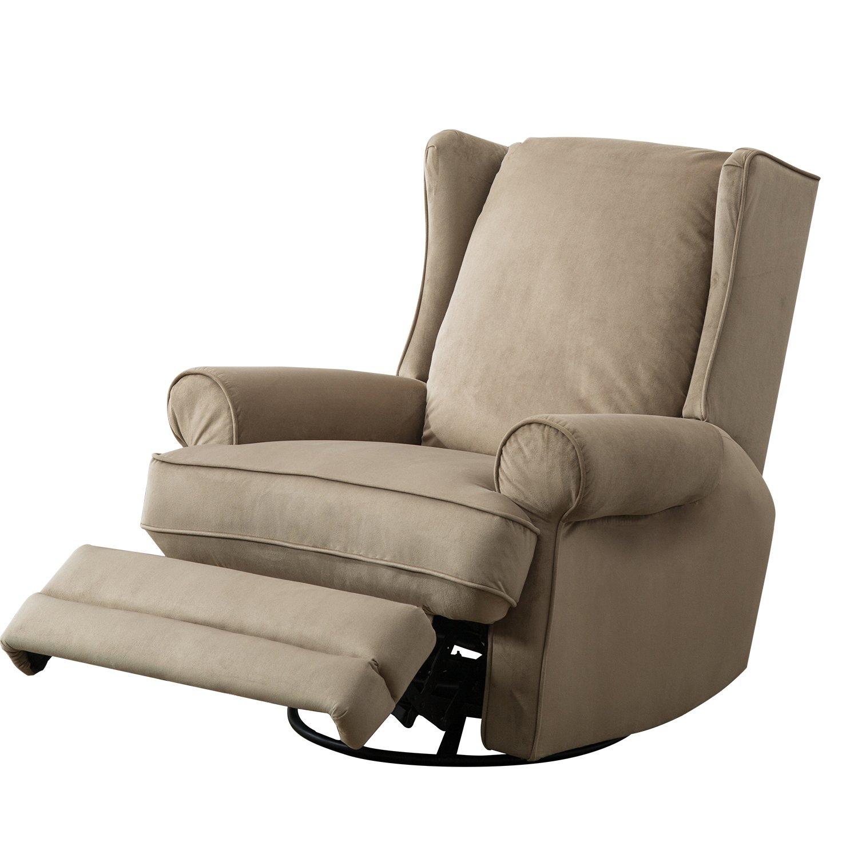 BONZY Modern Wingback Swivel Gliding Recliner Chairs Soft Bella Material - Sand