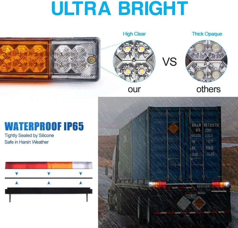 Biqing 2PCS 24V Luces Remolque Traseras,Universal Montaje de Luces Traseras 20 LED Pilotos Traseros Tractor Trasera Luz de Freno Para Cami/ón// Remolque//Van Caravan