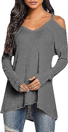 Camisa Larga De Mujer V Camisa De Corte De En Camisas Hombros ...
