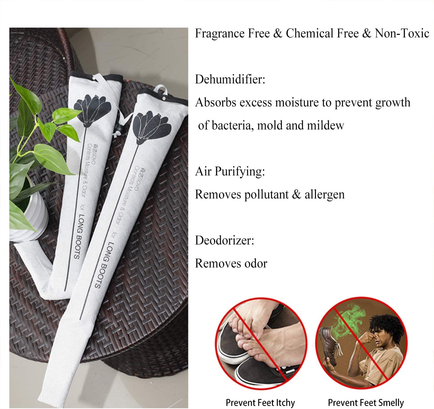 ChasBete Air Purifying Bag//Shoe Deodorizer//Shoes Stretcher Nature Diatomaceous Earth Odor Eliminator Absorb Moisture Set of 2