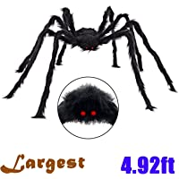 Halloween Decorations 5 Ft. Giant Halloween Spider Black Spider 150cm Large Spider Haunted House Prop Plush Spider Scary Decoration, Virtual Realistic Hairy Spider, Black