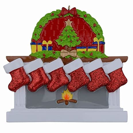 Amazon.com: Personalized Fireplace Stockings Family Ornaments of 6 ...