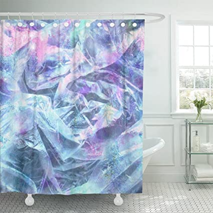 Emvency Shower Curtain Polyester 72x78 Inches Blue Holographic With Crumpled Plastic And Iridescent Colors Pink Glam