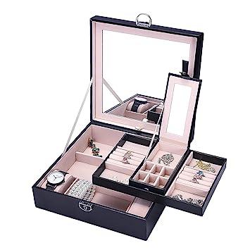 Boîte à Bijoux Basuwell® avec Miroir Grand Organiseur à Bijoux Mallette/  Coffrets/ Boîte à Maquillage Anneaux de Boucles d\'oreilles Collier ...