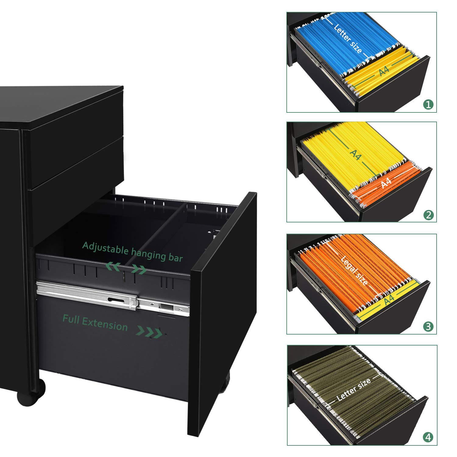 Office Pedestal Steel Mobile Filing Cabinet DEVAISE 3 Drawer File Cabinet with Lock Fully Assembled Except Casters