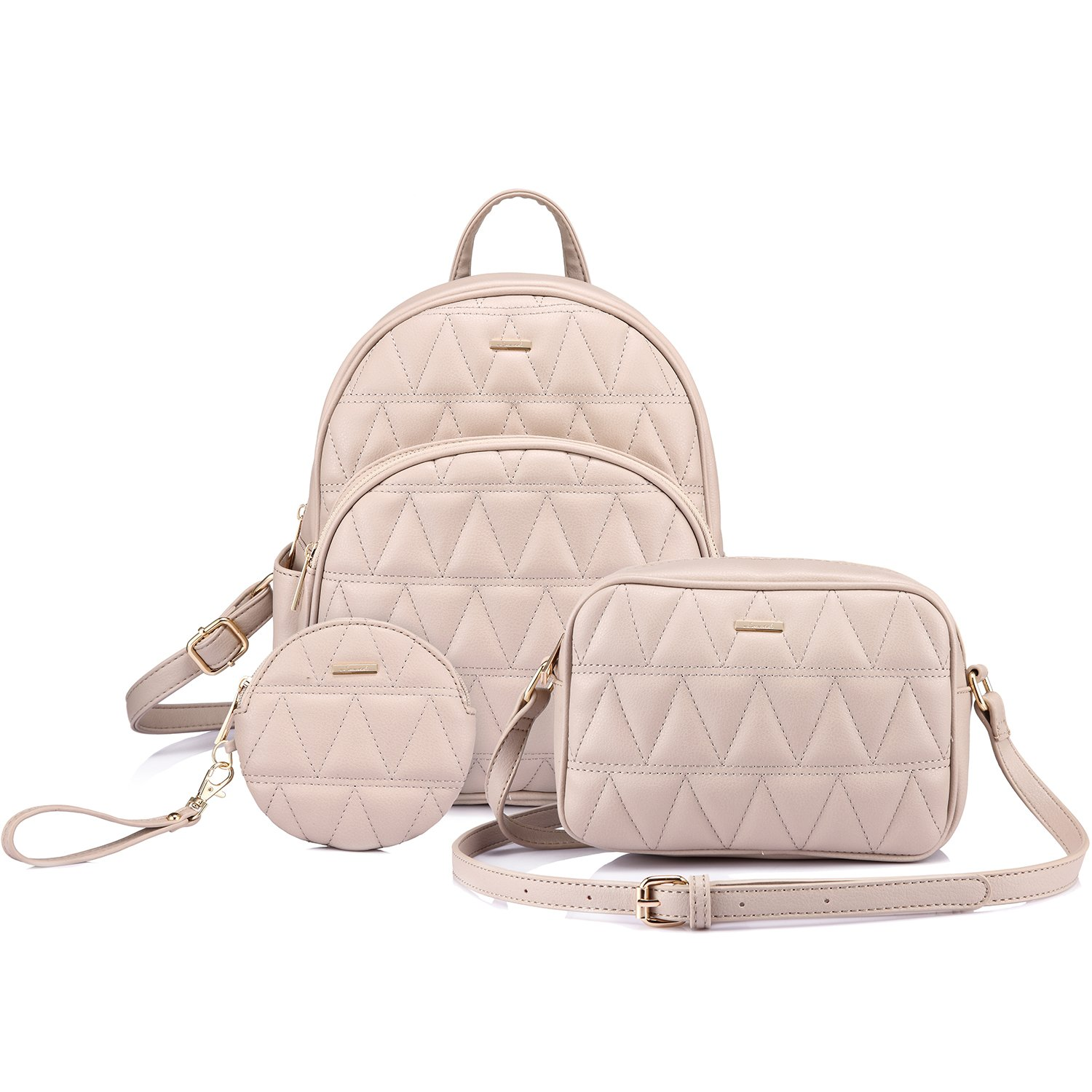 Backpack Purse Quilted Casual Backpacks Handbags for Women Shoulder Bag Coin bag 3 Pieces Set Beige