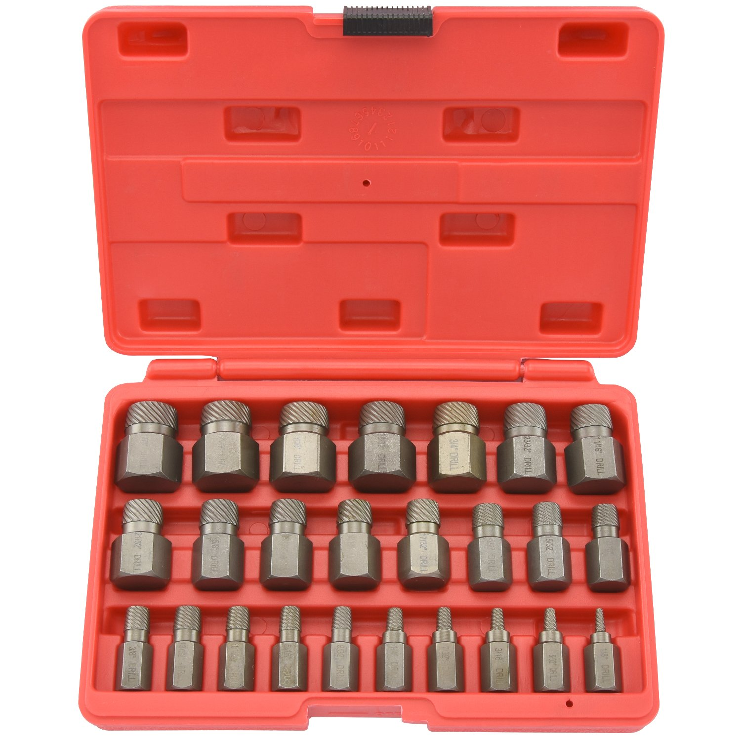 Neiko 04204A Hex Head Multi-Spline Screw and Bolt Extractor 25-Piece Set | 1/8'' to 7/8'' by 1/32'' Increment by Neiko