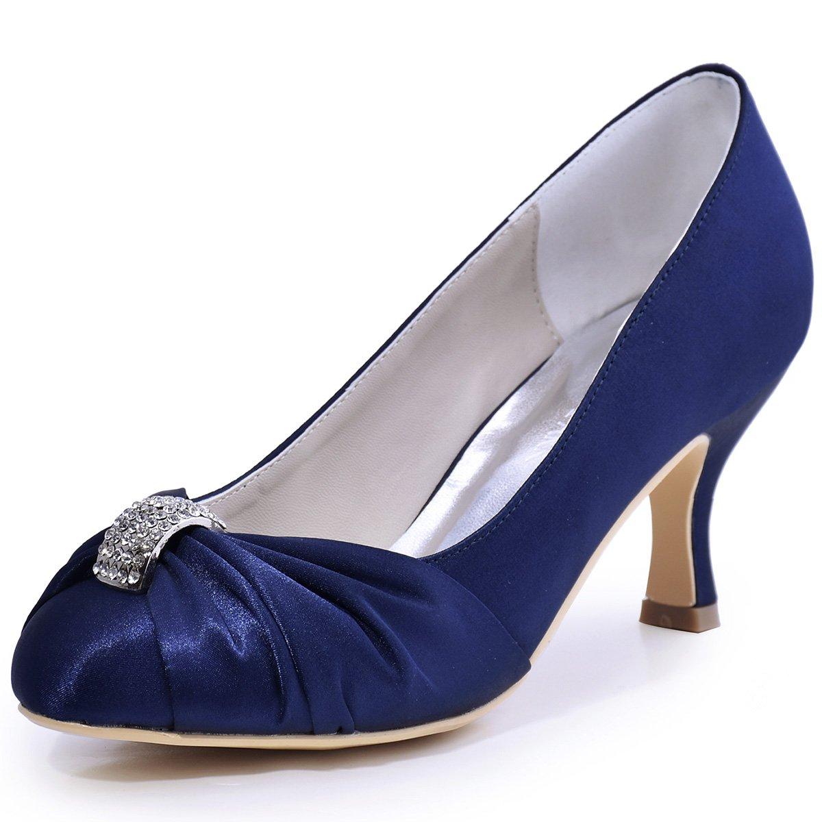 ElegantPark HC1526 Women Pumps Mid Heel Rhinestones Closed Toe Satin Evening Prom Wedding Shoes Navy Blue US 8