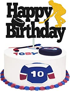 Hockey Cake Topper Hockey Player Figurines Happy Birthday Cake Decor for Kids Boys Girls Ice Hockey Sport Themed Party Supplies Black Sparkle Decorations Double Sided