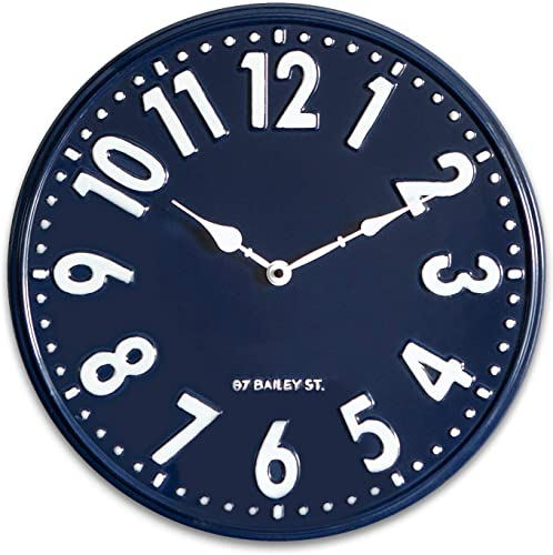 NIKKY HOME Nautical Navy Blue Wall Clock Silent Non Ticking