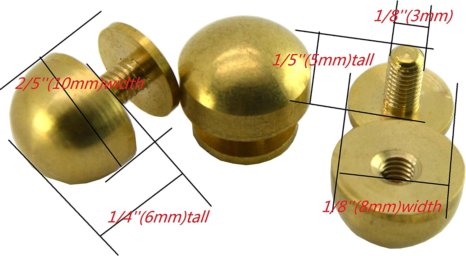 """Solid Brass  Oblong Spots Pack Of 100 Studs For Leather 5//8/"""" Nickel"""