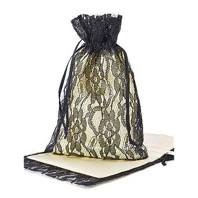 10 bolsitas de organza con encaje (18 x 11 cm) en combinación con una bolsita de satén (15 x 10 cm), envoltorio elegante para regalos, decoración (negro/crema): Juguetes y juegos