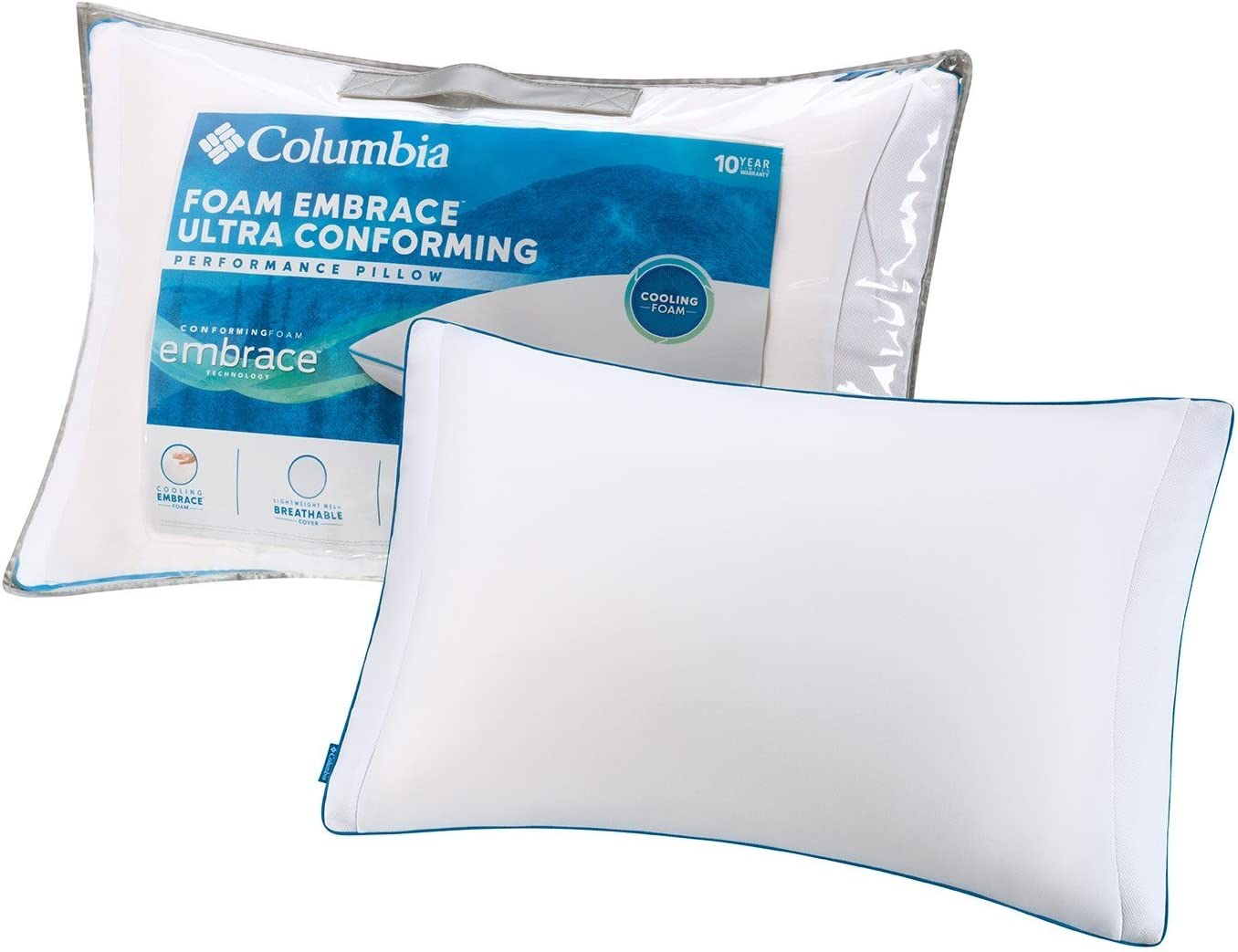 Columbia Cooling Memory Foam Embrace Luxury Pillow – Removable Washable Zip-Off Breathable Hypo-Allergenic Cover - Neck Pain Relief for Side & Back-Stomach Sleepers – CertiPUR-US- Standard/Queen Size