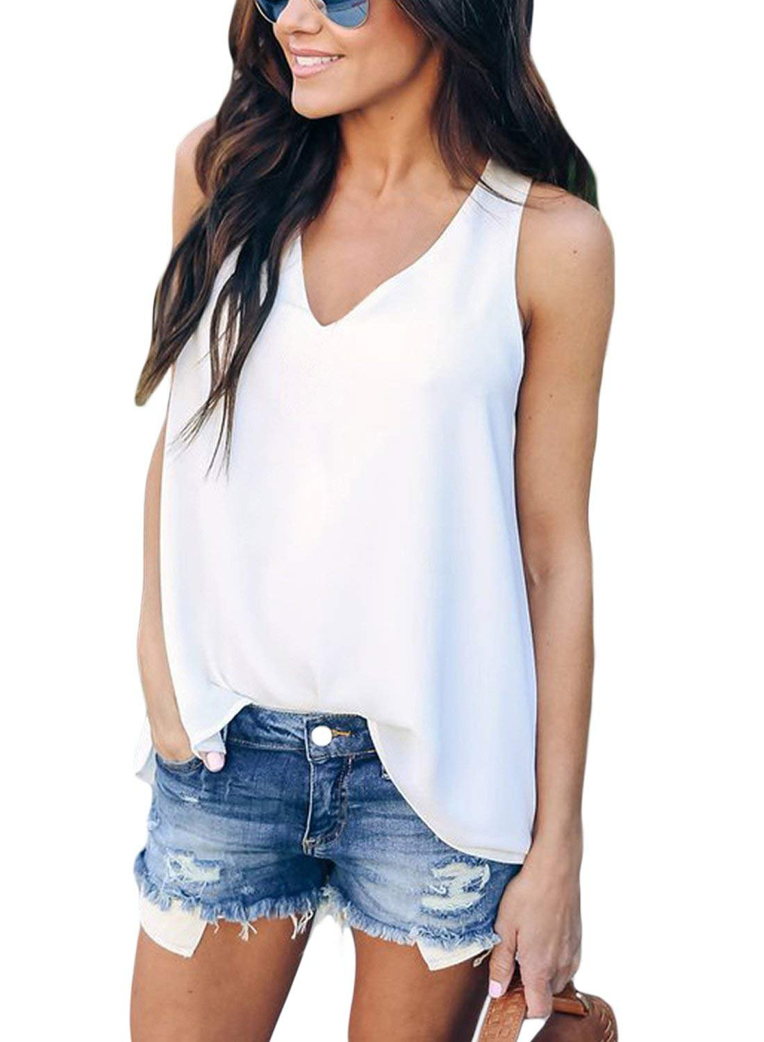 OLYHA Women's V Neck Sleeveless Tank Tops Casual Flowy Sexy Cami Blouse Shirts (White, (US 4-6) Small)