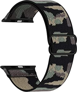 Adjustable Stretchy Band Compatible with Apple Watch 44mm 42mm 40mm 38mm, Solo Loop Sport Elastic Stretch Scrunchie Braided Cute Nylon Strap for iWatch SE 6 5 4 3 2 1, Men Women, Camo Green
