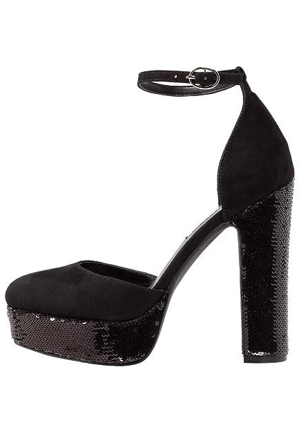 acheter populaire 2a9f6 5d01e Even&Odd Escarpins à Plateforme avec Paillettes - Chaussures à Talons Hauts  avec Sangles à la Cheville - Sandales à Talons Blocs Chics pour Femmes