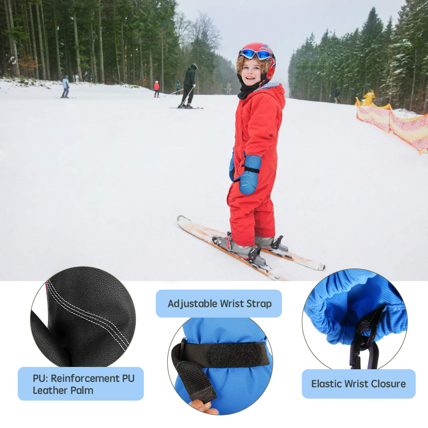 Blue, 2-4Y Unigear Kids Ski Mittens Waterproof Winter Snow Thinsulate Mittens with String for Boys Girls