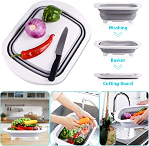 Goodking Collapsible Cutting Board with Colander, 4-in-1 Multi-function Foldable Kitchen Plastic Silicone Dish Tub Drainers, Sink Storage Washing Draining Basket for Fruits/Vegetables/Picnic/Camping