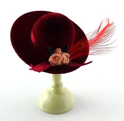 9d29fcaf998 Amazon.com: Melody Jane Dolls House Red Lady's Hat with Feather ...