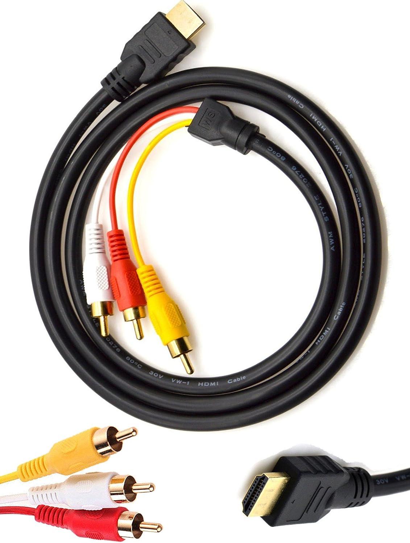 chenduomi HDMI a RCA TV Cable HDMI Macho a 3 RCA Hembra AV Cable Audio Video Componente Convertidor Adaptador Cable 1080p para HDTV Negro 5 pies/1,5 m: Amazon.es: Electrónica