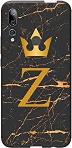 Okteq Case Cover for Huawei Y9 Prime 2019 Shock Absorbing PC TPU Full Body Drop Protection Cover matte printed - Golden Z letter black marble By Okteq