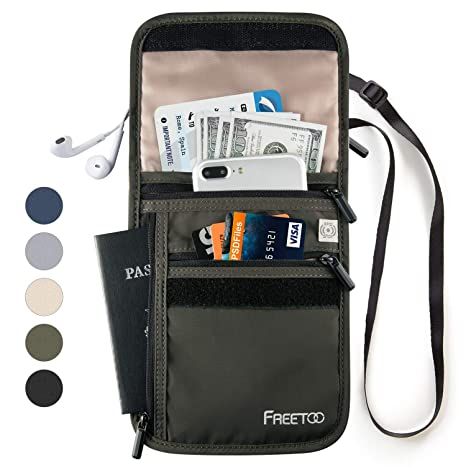 2cebe33d2826 FREETOO Passport Holder Travel Neck Wallet with RFID Blocking, Hidden  Travel Neck Pouch Anti-Theft for Men/Women to Keep Your Passport and Credit  Card ...