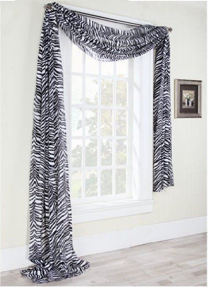 1 X 1kidandaheadache's Beautiful Elegant Voile Sheer Valance Scarf 37'' X 216'' Topper in Zebra Animal Safari Print