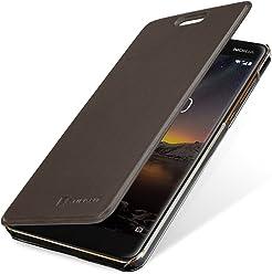 StilGut Book Type Berlin, Housse Nokia 6 2018 en cuir de qualité et en TPU avec porte-cartes. Étui flip-case de protection à ouverture latérale avec blockage RFID (RFID/NFC blocker), marron/transparent