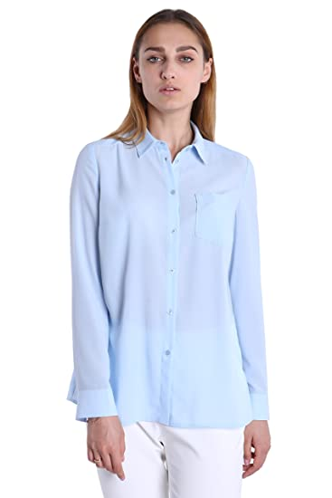 41d63f480 Fyriona Women's Button Down Shirt Chiffon Blouse Basic Long Sleeve Light  Blue XS