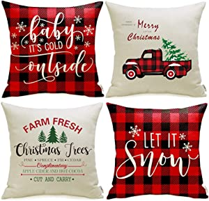 Meekio Christmas Decorations for Home Set of 4 Christmas Red Buffalo Check Pillow Covers 20 x 20 inch Christmas Truck Farmhouse Christmas Cushion Covers for Christmas Decor