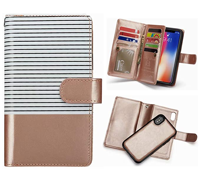 0548f05ab59c iPhone 8/iPhone 7/iPhone 6 Detachable Wallet Case,Hynice Flip Straps  Pattern Leather Case with 9 Card Slots Holder Magnetic Strap Removable  Cover ...