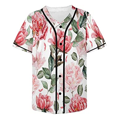 InterestPrint Red Flowers Button Down Casual Shortsleeve Tee for Men