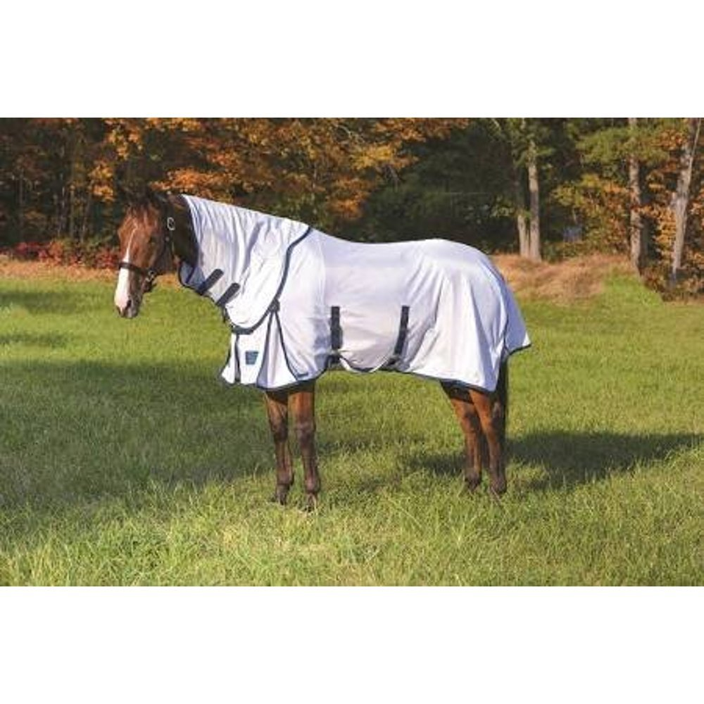 Shires, Performance Fly Sheet and Neck Set, White/Navy, 78