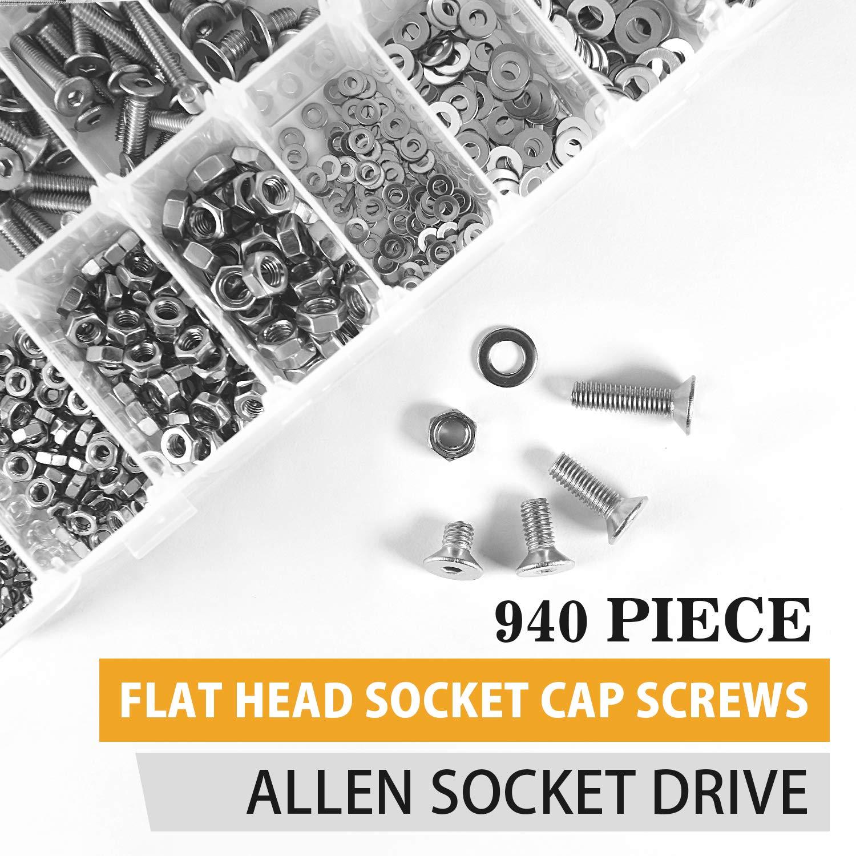 VIGRUE 940 Pieces M2 M3 M4 M5 Flat Head Socket Cap Screws 304 Stainless Steel Cap Bolts Nuts Washers Assortment Kit Allen Socket Drive