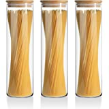 ComSaf Glass Spaghetti Pasta Storage Container for Kitchen Pantry with Lids 47oz Set of 3, Tall Clear Airtight Food…
