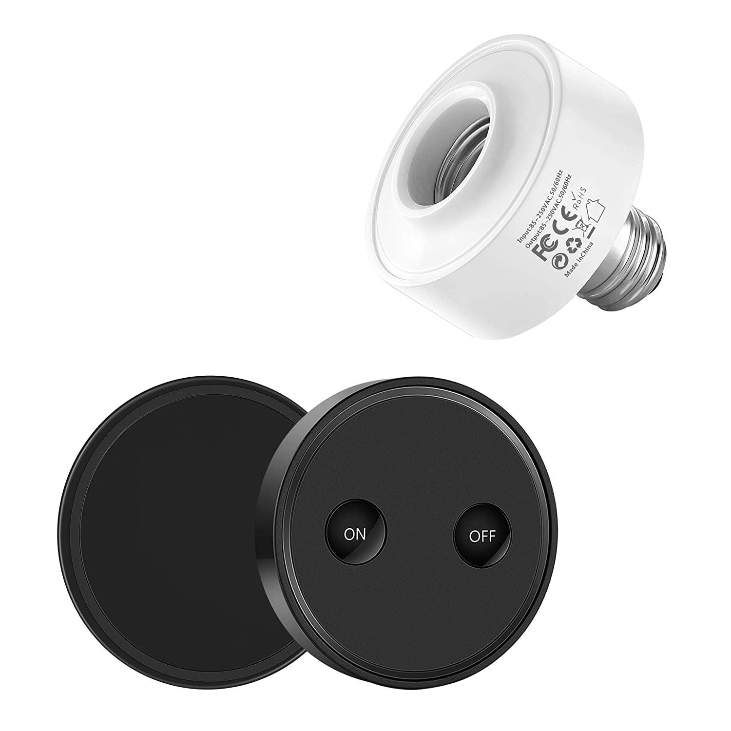 Black 5 Years Warranty LoraTap Wireless Remote Control E26 E27 Light Socket Kit 656ft 915MHz Range On Off Switch for LED Bulbs and Fixtures 30W Max