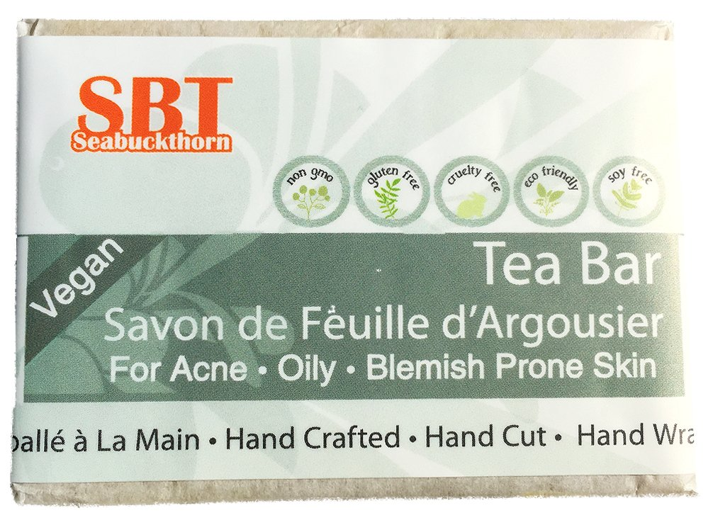 Healing Tea (Facial Cleansing) Bar - Nourishes, Hydrates, Calms, & Clarifies Skin while Banishing Blemishes - SLS Free - 110+ grams SBT Seabuckthorn
