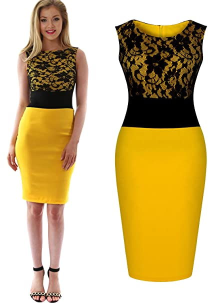 Yellow Knee Length Lace Dress