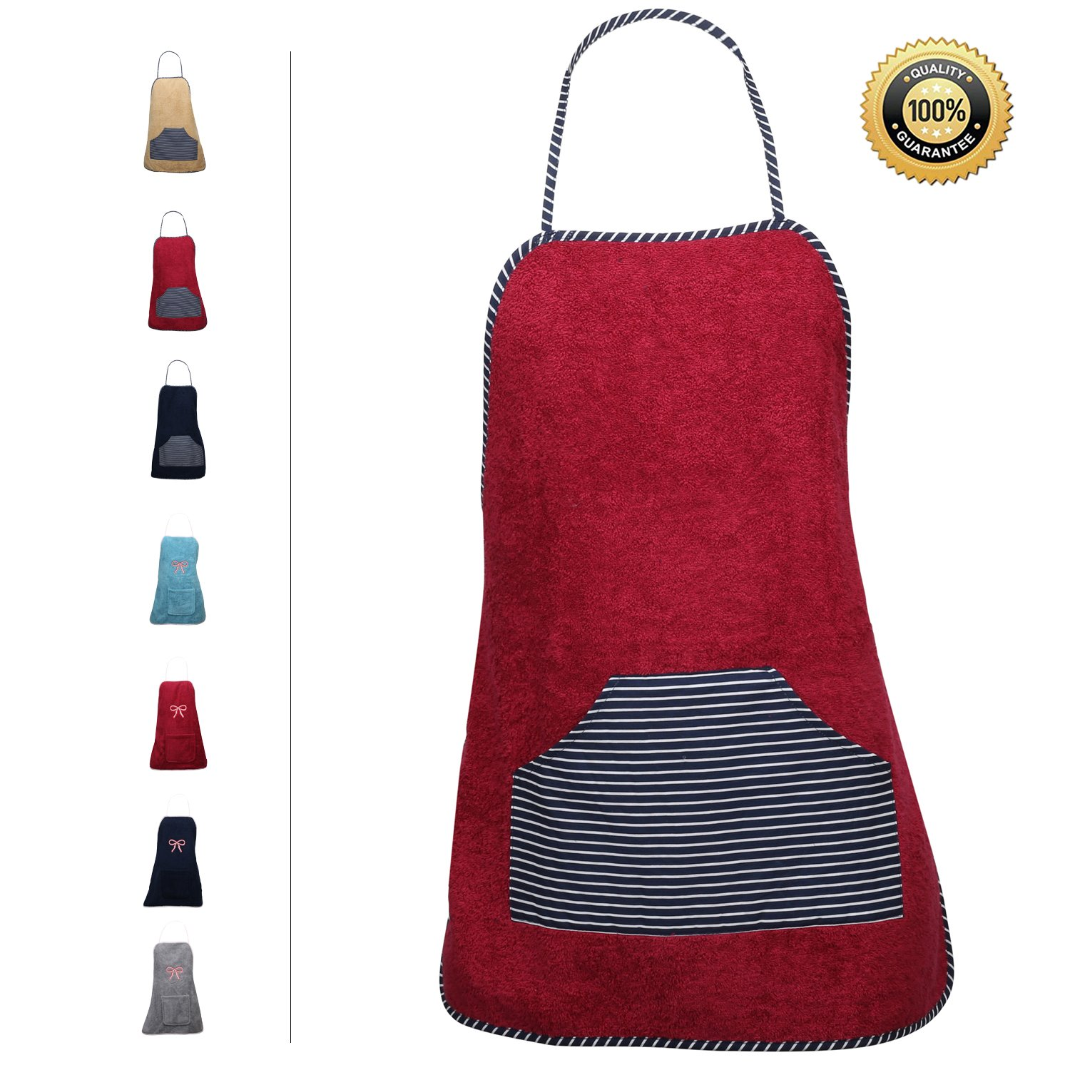 Terry Cloth Apron with Convenient Pocket Durable Stripe Kitchen and Cooking Apron for Women/Men Professional Stripe Chef Apron for Cooking, Grill and Baking (Maroon - Striped Pocket, Terrycloth)