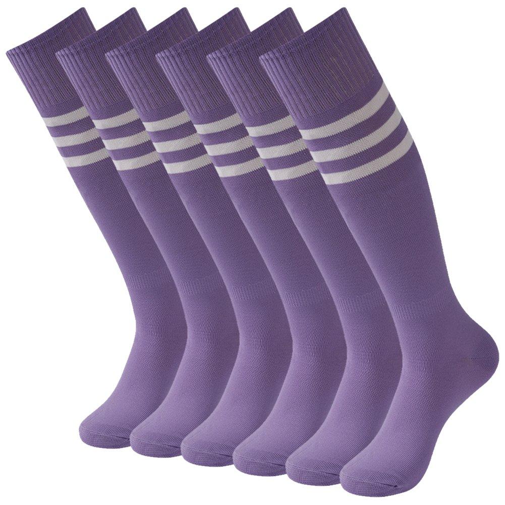 3street ユニセックス ニーハイ トリプルストライプ アスレチック サッカー チューブ ソックス 2 / 6 / 10組 B07919VKRR 6-Pair Purple+White Stripe 6-Pair Purple+White Stripe