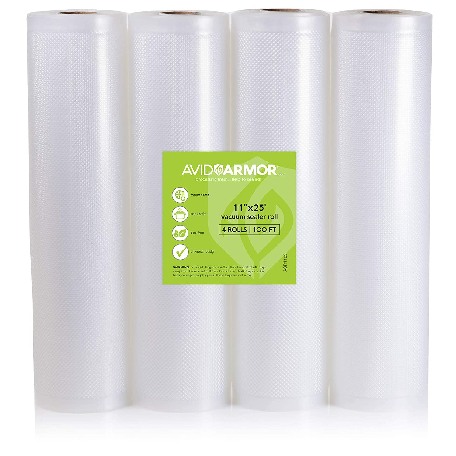 "Food Saver Bags Rolls 4 Pack 11"" x 25 Feet for Foodsaver, Seal a Meal Vacuum Sealer FITS INSIDE MACHINE STORAGE AREA Heavy Duty, Sous Vide Vaccume, Cut to Size Roll BPA Free 100 Feet Avid Armor"