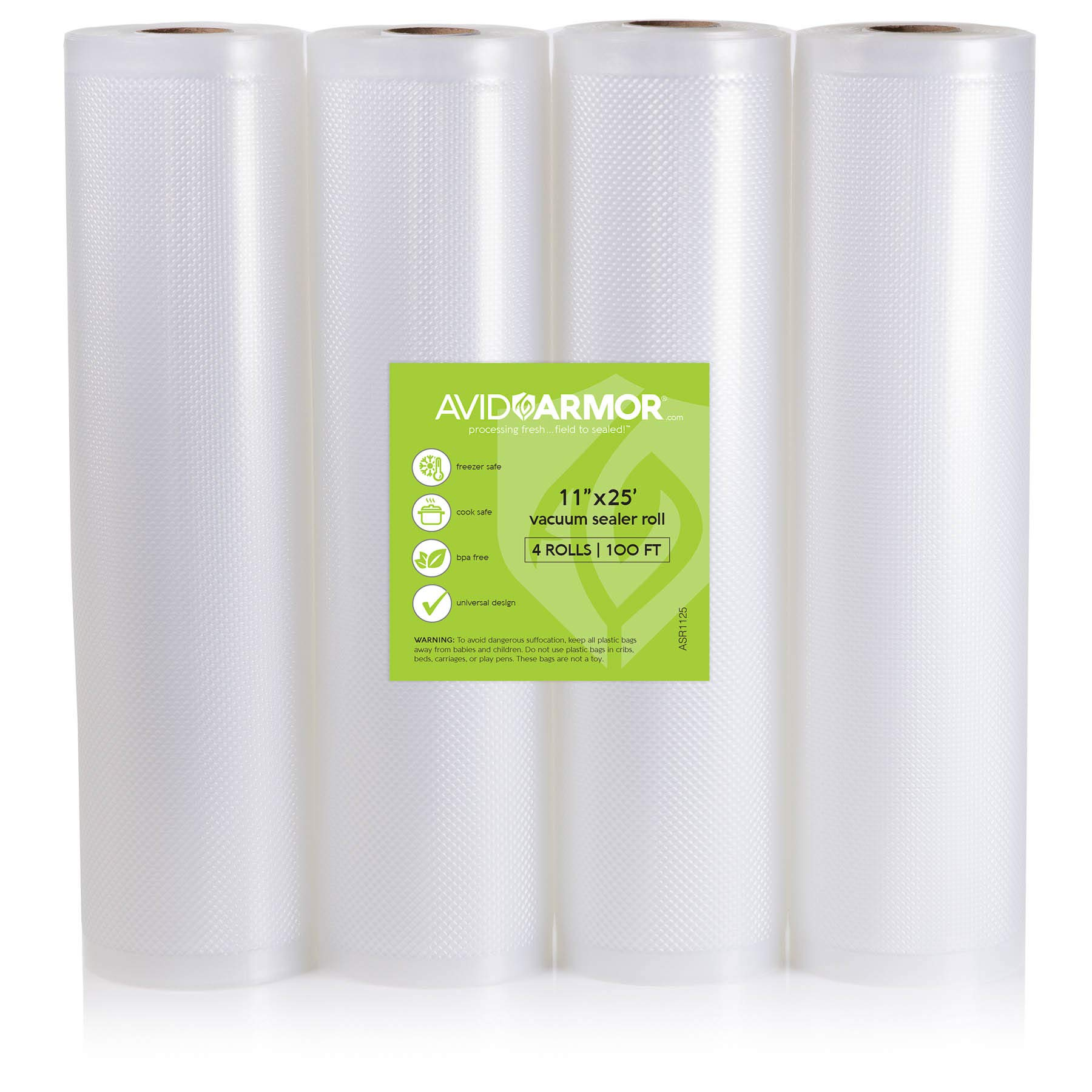 Food Saver Bags Rolls 4 Pack 11'' x 25 Feet for Foodsaver, Seal a Meal Vacuum Sealer FITS INSIDE MACHINE STORAGE AREA Heavy Duty, Sous Vide Vaccume, Cut to Size Roll BPA Free 100 Feet Avid Armor