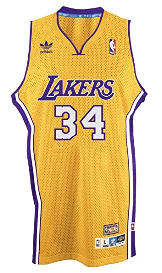 big sale 2e329 f7389 adidas Shaquille O'Neal Los Angeles Lakers Gold Throwback Swingman Jersey