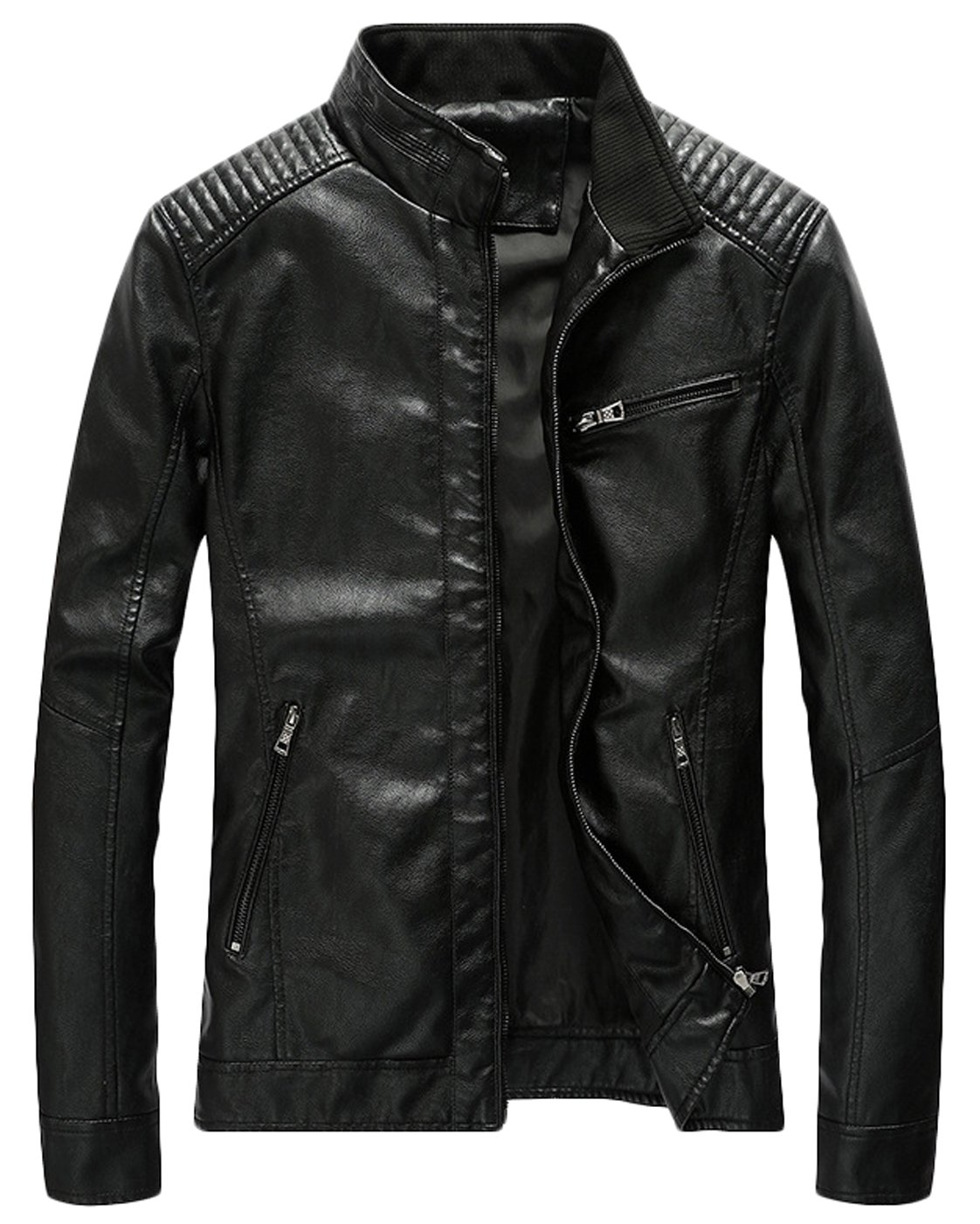 Youhan Men's Casual Zip up Slim Bomber Faux Leather Jacket (Medium, Black)