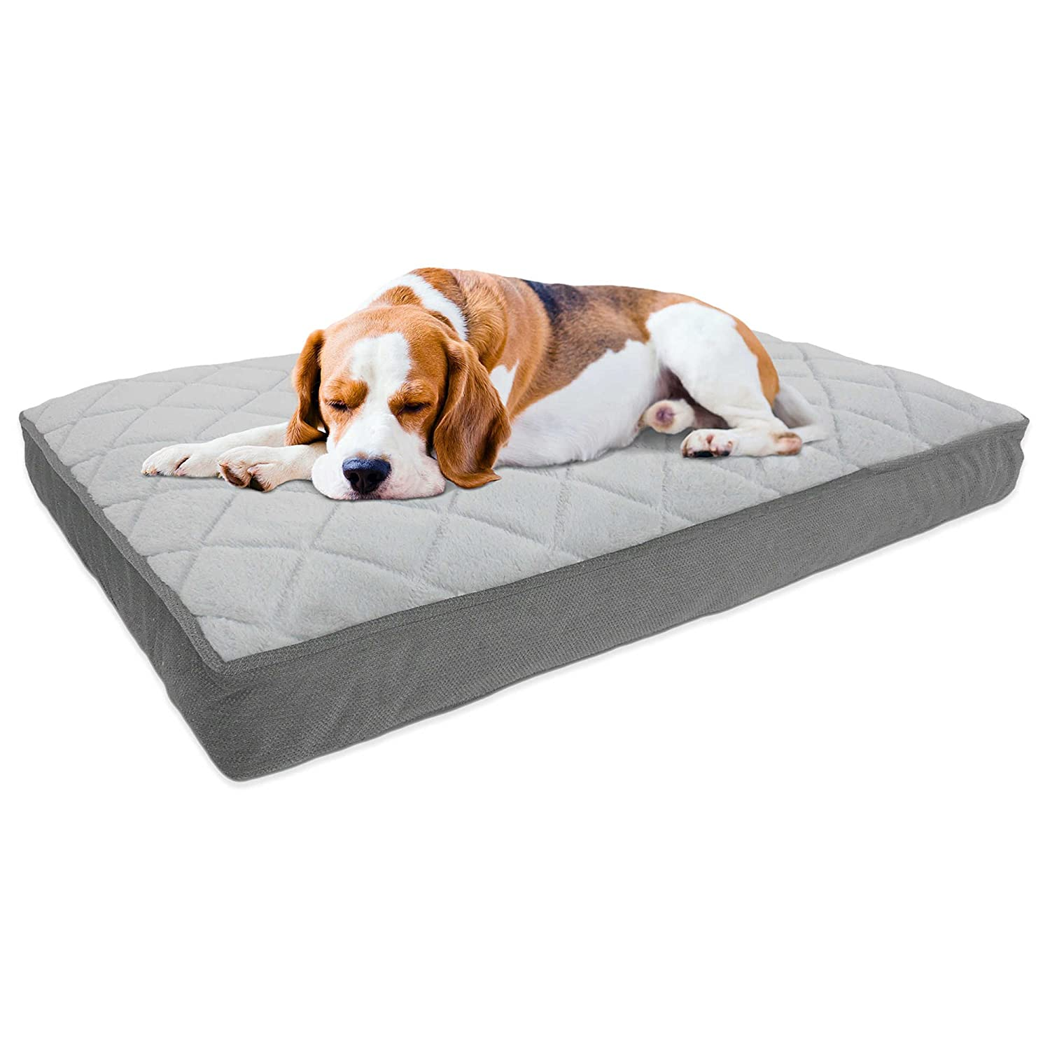 """Large Therapedic Memory Foam Pet Bed for Dogs or Cats (42"""" X 30"""") -  Charcoal."""