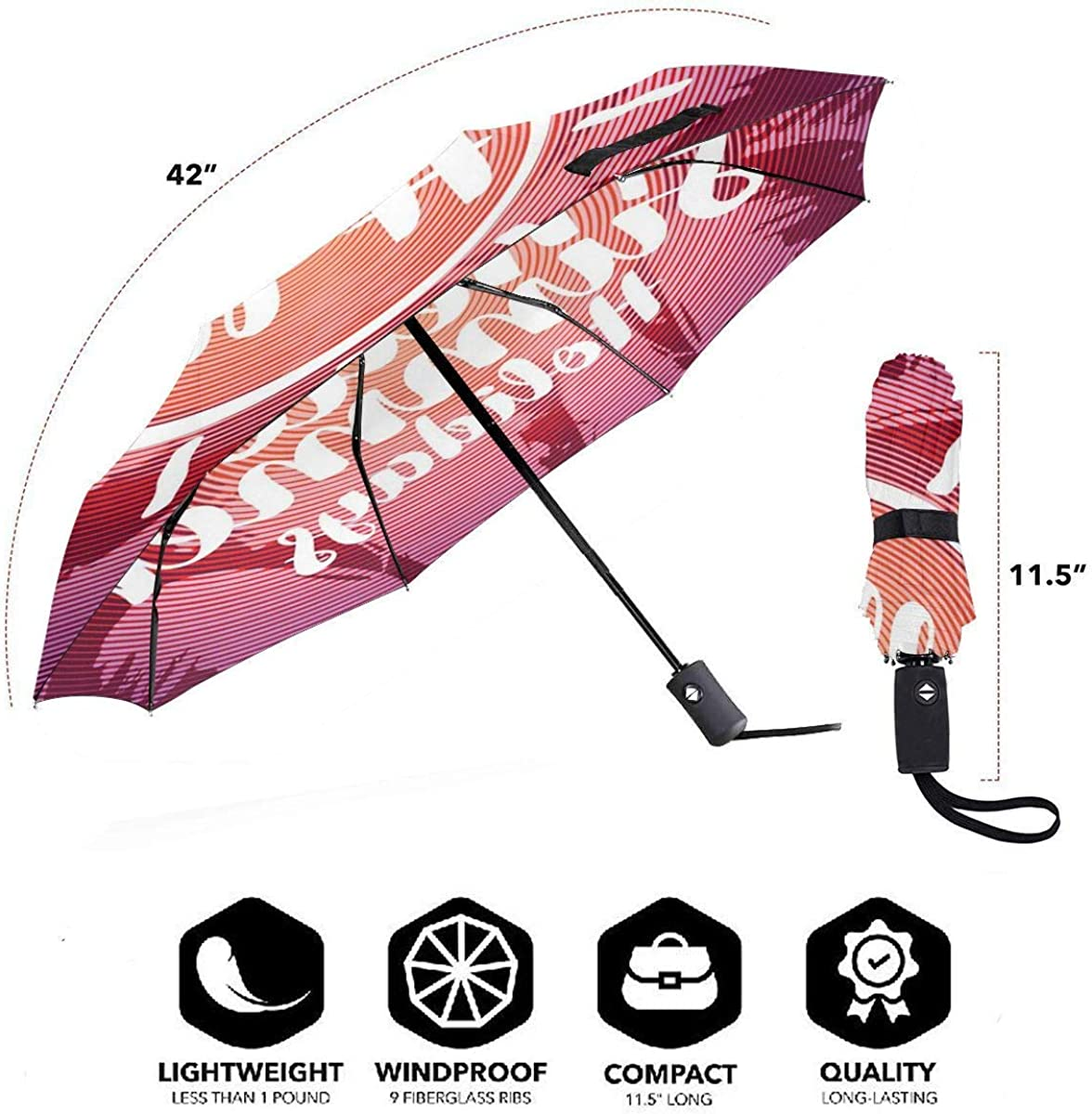 Fashion Hello Summer Holiday Compact Travel Umbrella Windproof Reinforced Canopy 8 Ribs Umbrella Auto Open And Close Button Customized